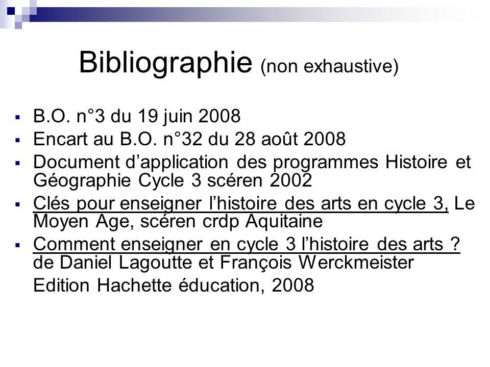 Bibliographie (non exhaustive) B.O. n°3 du 19 juin 2008 Encart au B.O. n°32 du 28 août 2008 Document dapplication des programmes Histoire et Géographi
