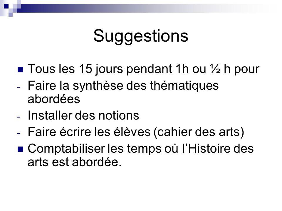 Suggestions Tous les 15 jours pendant 1h ou ½ h pour - Faire la synthèse des thématiques abordées - Installer des notions - Faire écrire les élèves (c