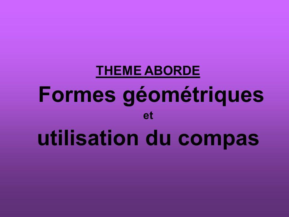THEME ABORDE Formes géométriques et utilisation du compas
