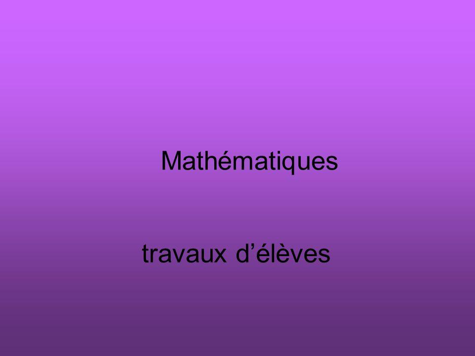 Mathématiques travaux délèves