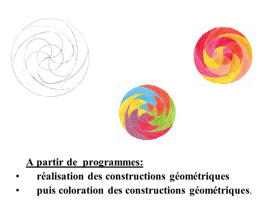 A partir de programmes: réalisation des constructions géométriques puis coloration des constructions géométriques.