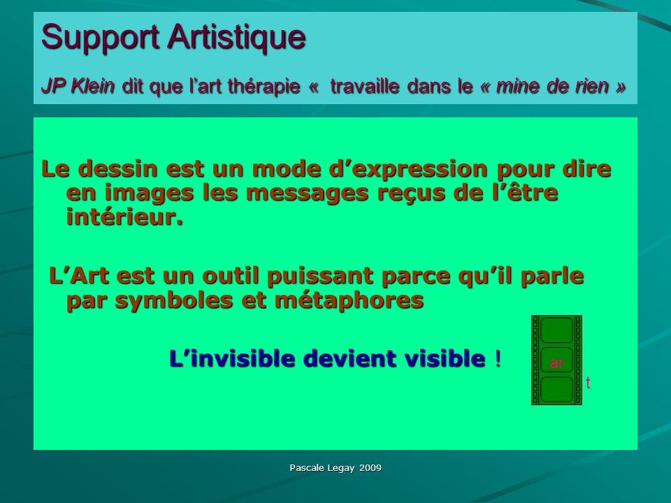 Pascale Legay 2009 Support Artistique JP Klein dit que lart thérapie « travaille dans le « mine de rien » Le dessin est un mode dexpression pour dire en images les messages reçus de lêtre intérieur.