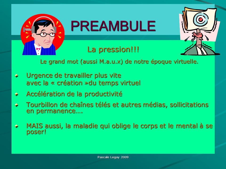 Pascale Legay 2009 PREAMBULE La pression!!! Le grand mot (aussi M.a.u.x) de notre époque virtuelle. Le grand mot (aussi M.a.u.x) de notre époque virtu