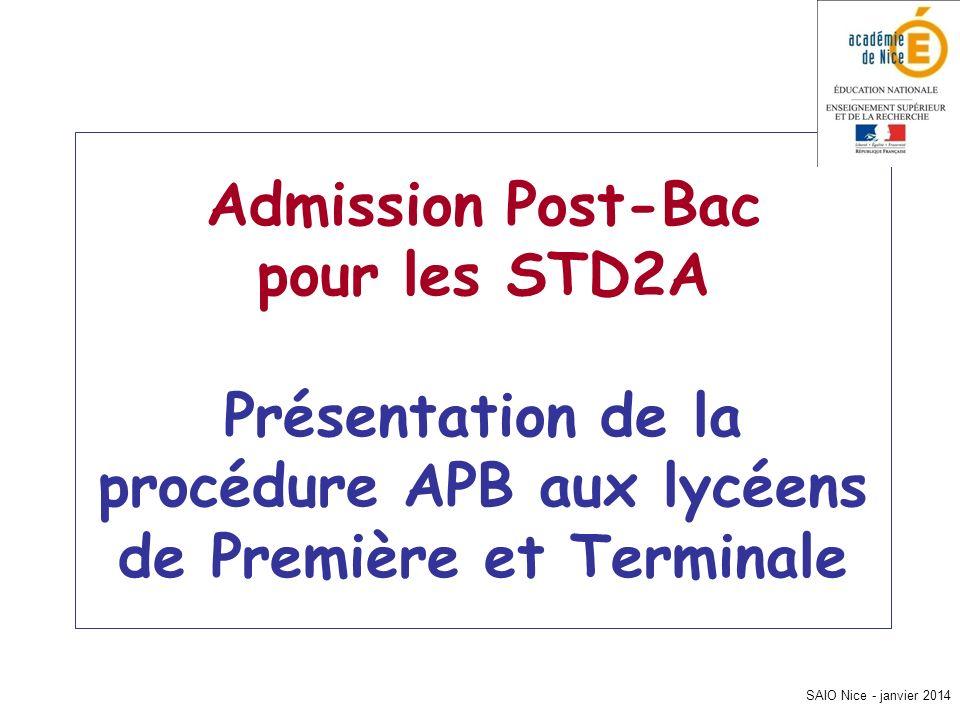 SAIO Nice - janvier 2014 Admission Post-Bac pour les STD2A Présentation de la procédure APB aux lycéens de Première et Terminale