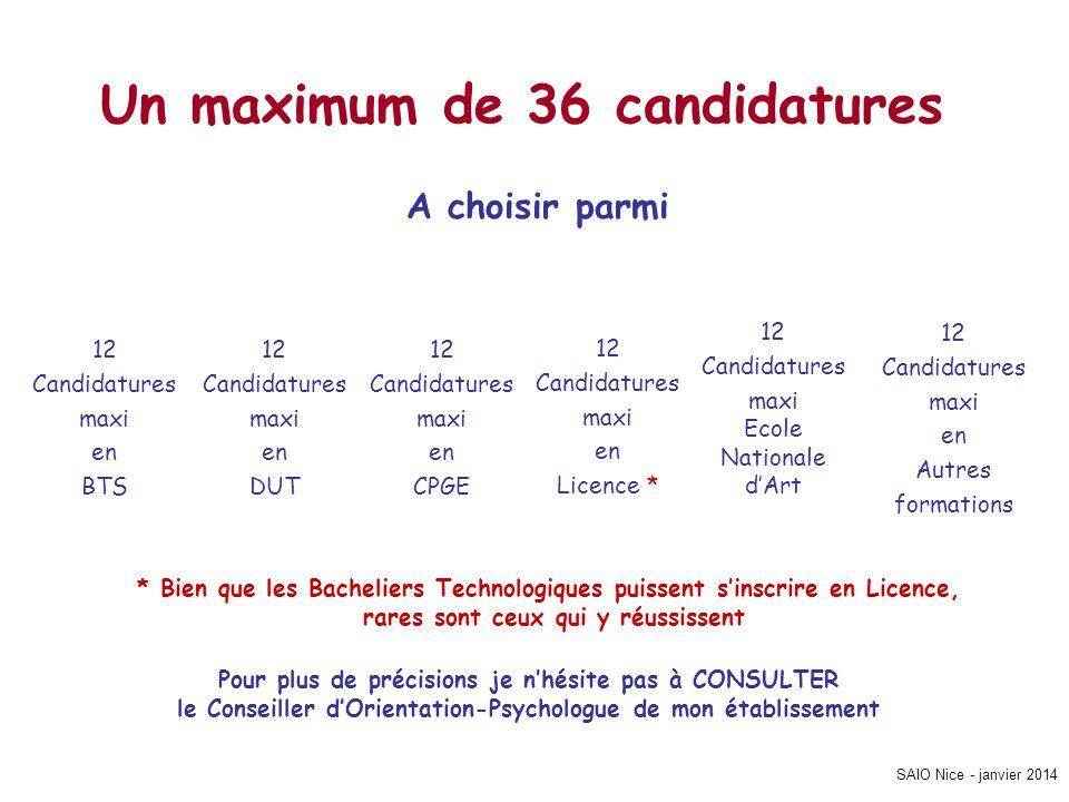SAIO Nice - janvier 2014 Un maximum de 36 candidatures 12 Candidatures maxi en Autres formations 12 Candidatures maxi Ecole Nationale dArt 12 Candidat