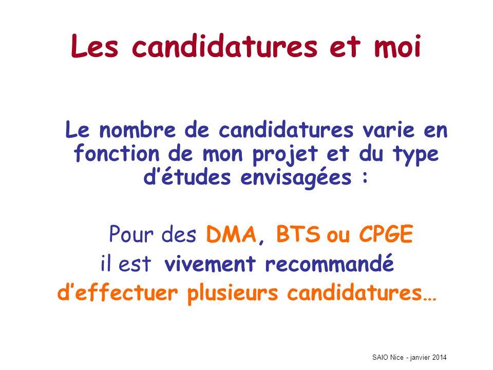 SAIO Nice - janvier 2014 Les candidatures et moi Le nombre de candidatures varie en fonction de mon projet et du type détudes envisagées : Pour des DM