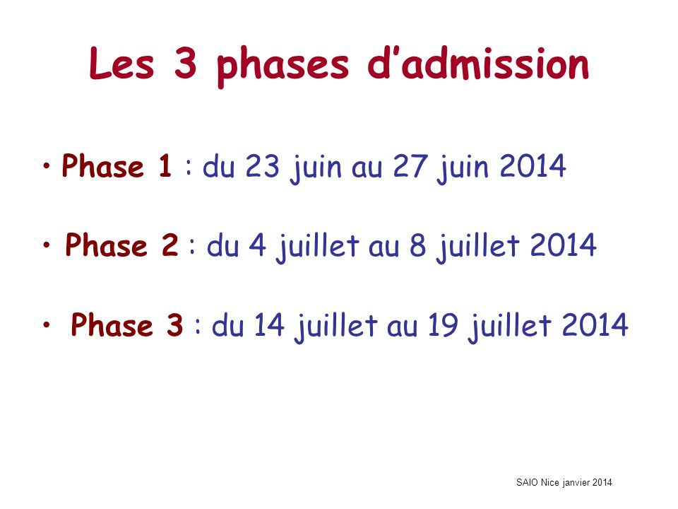SAIO Nice janvier 2014 Les 3 phases dadmission Phase 1 : du 23 juin au 27 juin 2014 Phase 2 : du 4 juillet au 8 juillet 2014 Phase 3 : du 14 juillet au 19 juillet 2014