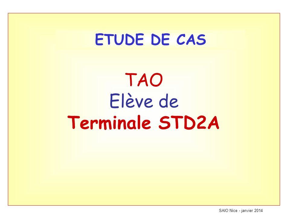TAO Elève de Terminale STD2A SAIO Nice - janvier 2014 ETUDE DE CAS