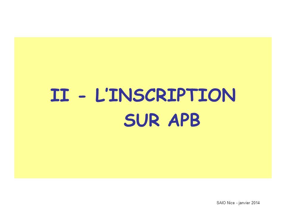 SAIO Nice - janvier 2014 Accès à linscription (à partir du 20 janvier)