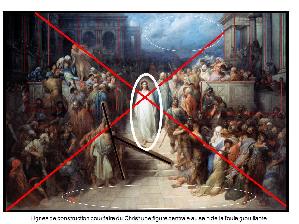 Lignes de construction pour faire du Christ une figure centrale au sein de la foule grouillante.