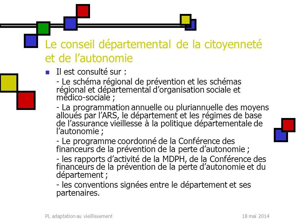 18 mai 2014PL adaptation au vieillissement Le conseil départemental de la citoyenneté et de lautonomie Il est consulté sur : - Le schéma régional de p