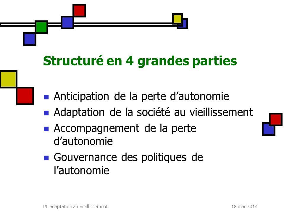 18 mai 2014PL adaptation au vieillissement Structuré en 4 grandes parties Anticipation de la perte dautonomie Adaptation de la société au vieillisseme