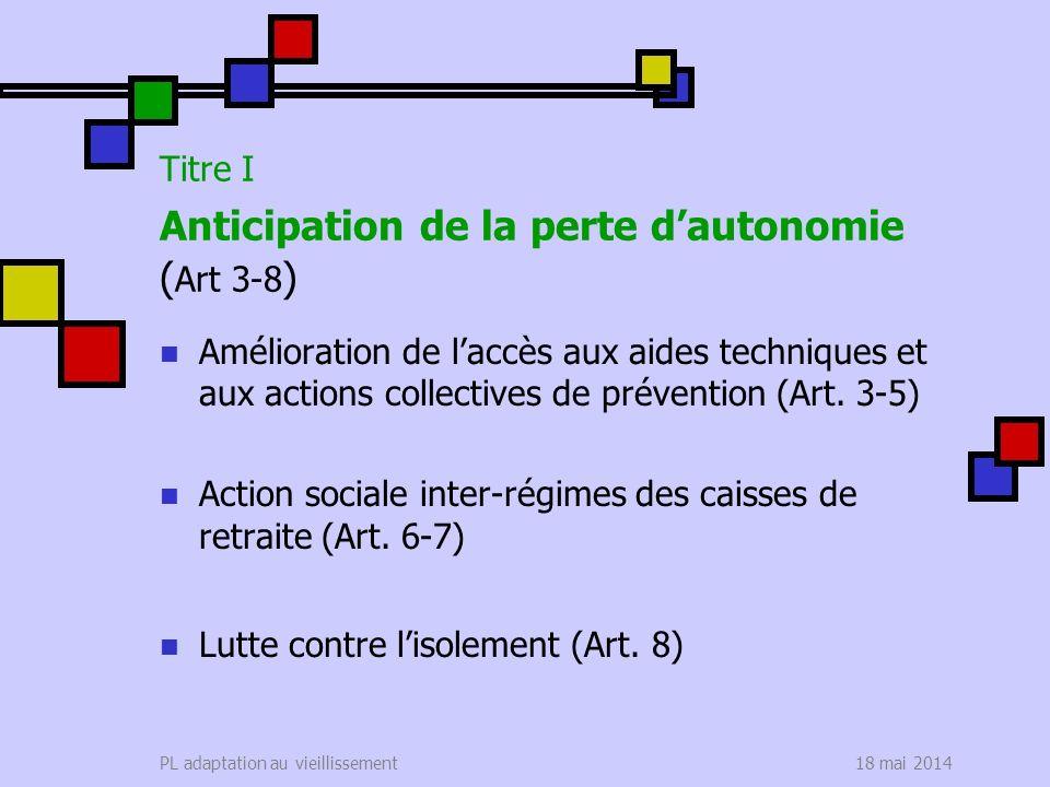 18 mai 2014PL adaptation au vieillissement Titre I Anticipation de la perte dautonomie ( Art 3-8 ) Amélioration de laccès aux aides techniques et aux actions collectives de prévention (Art.