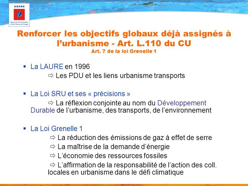 Renforcer les objectifs globaux déjà assignés à lurbanisme - Art. L.110 du CU Art. 7 de la loi Grenelle 1 La LAURE en 1996 Les PDU et les liens urbani