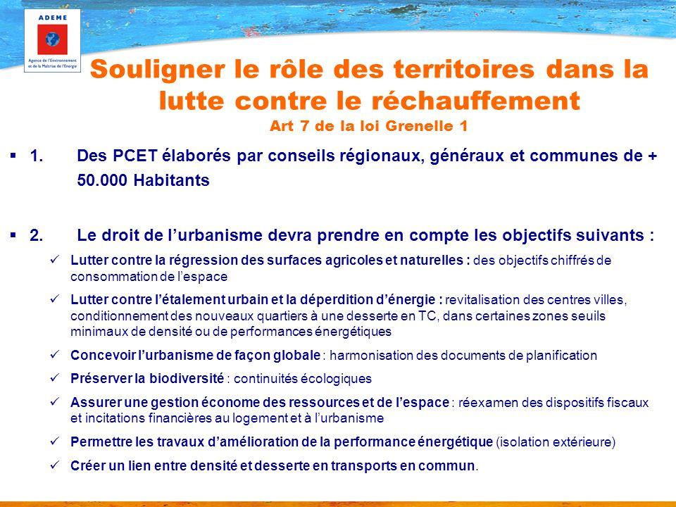 1.Des PCET élaborés par conseils régionaux, généraux et communes de + 50.000 Habitants 2.Le droit de lurbanisme devra prendre en compte les objectifs