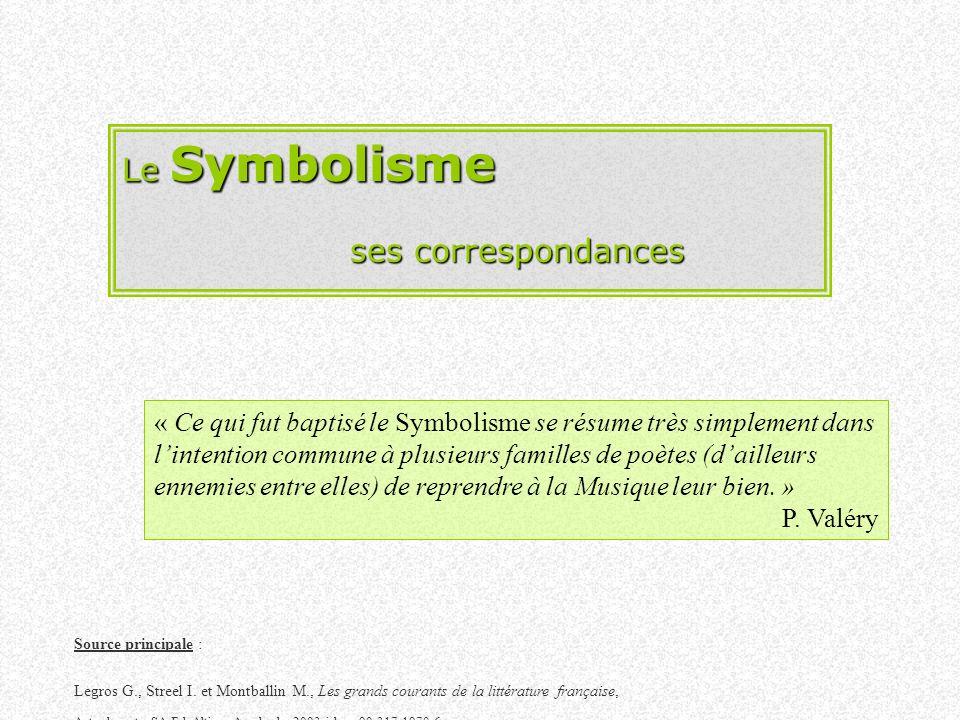 Le Symbolisme ses correspondances « Ce qui fut baptisé le Symbolisme se résume très simplement dans lintention commune à plusieurs familles de poètes