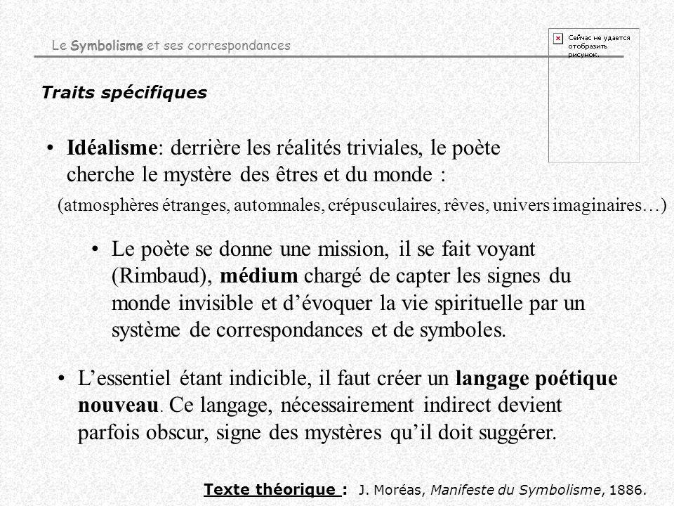 Traits spécifiques Idéalisme: derrière les réalités triviales, le poète cherche le mystère des êtres et du monde : Texte théorique : J. Moréas, Manife