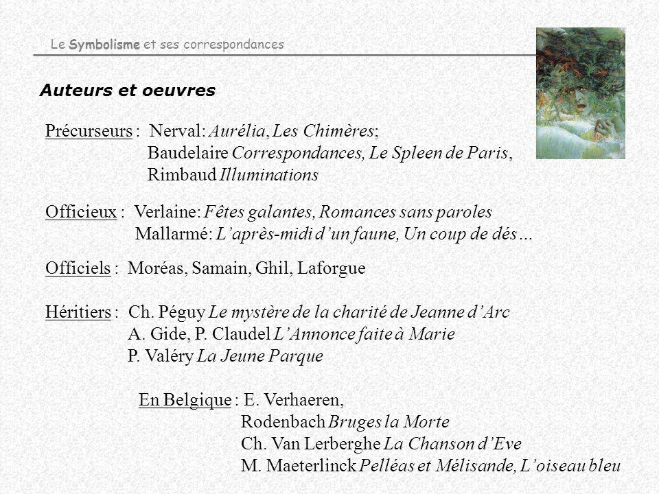 Auteurs et oeuvres Le Symbolisme et ses correspondances Précurseurs : Nerval: Aurélia, Les Chimères; Baudelaire Correspondances, Le Spleen de Paris, R
