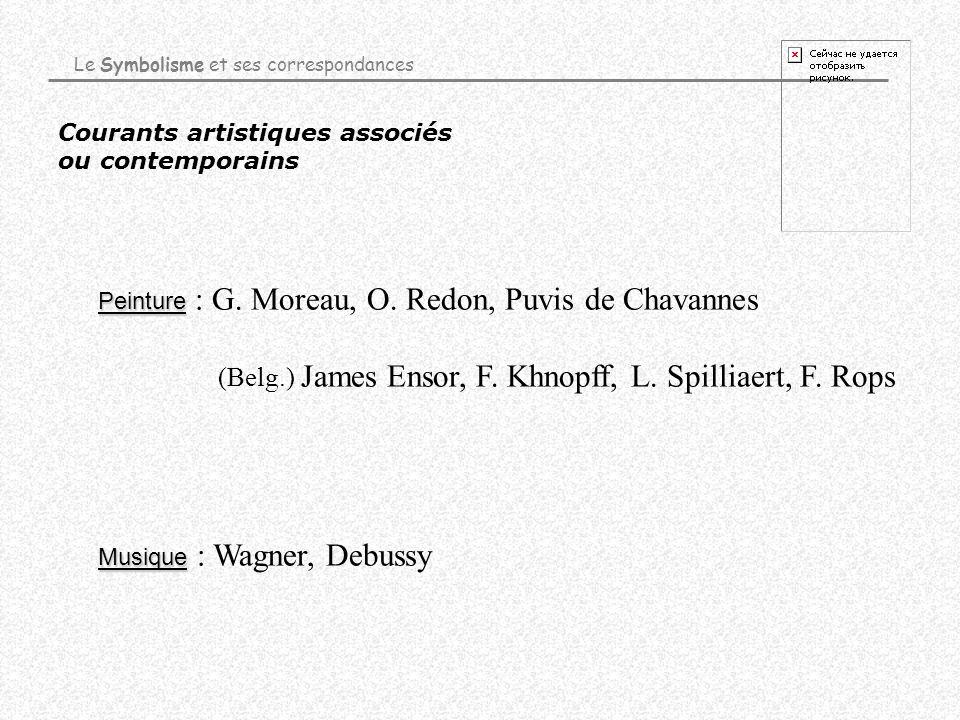 Courants artistiques associés ou contemporains Musique Musique : Wagner, Debussy Peinture Peinture : G. Moreau, O. Redon, Puvis de Chavannes (Belg.) J