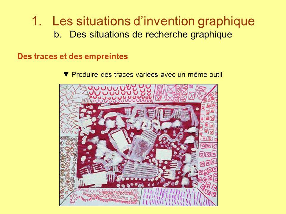 1. Les situations dinvention graphique b. Des situations de recherche graphique Des traces et des empreintes Produire des traces variées avec un même