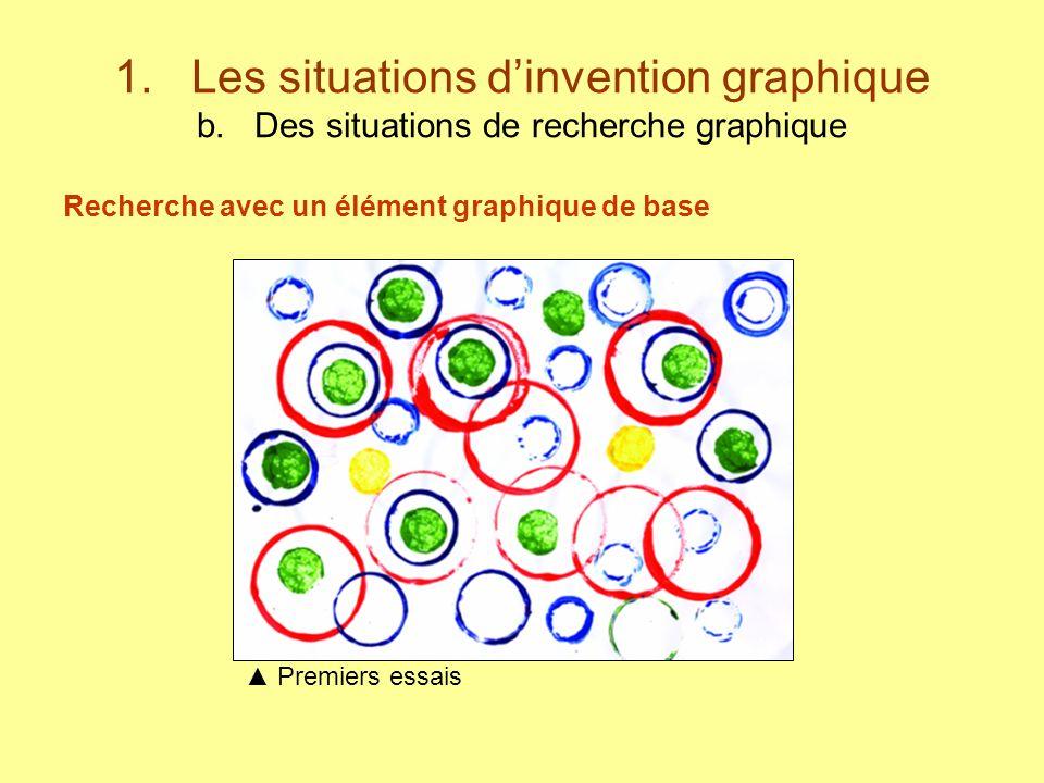 1. Les situations dinvention graphique b. Des situations de recherche graphique Recherche avec un élément graphique de base Premiers essais