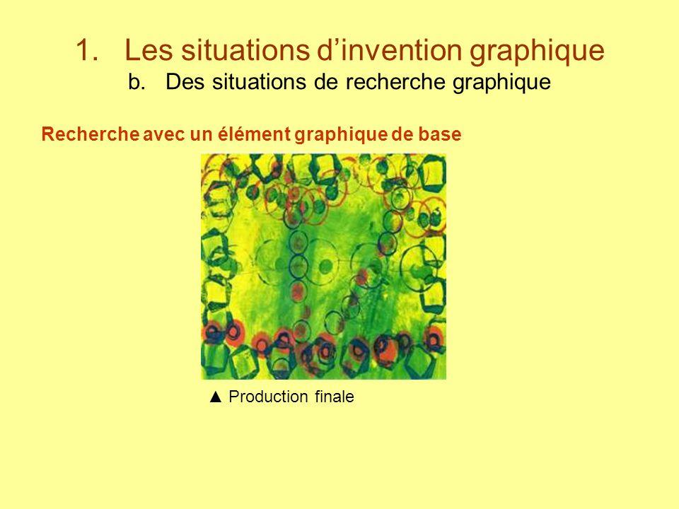 1. Les situations dinvention graphique b. Des situations de recherche graphique Recherche avec un élément graphique de base Production finale