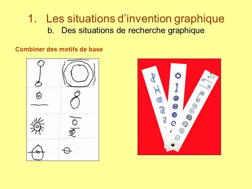 1. Les situations dinvention graphique b. Des situations de recherche graphique Combiner des motifs de base