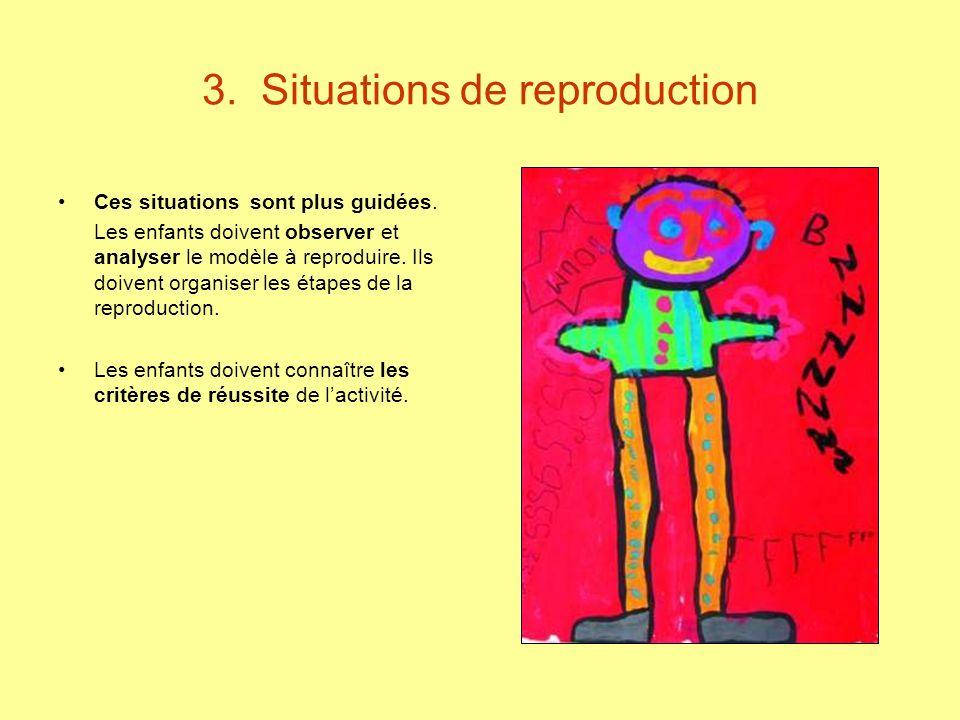 3. Situations de reproduction Ces situations sont plus guidées. Les enfants doivent observer et analyser le modèle à reproduire. Ils doivent organiser