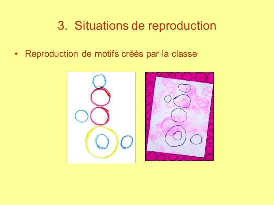 3. Situations de reproduction Reproduction de motifs créés par la classe