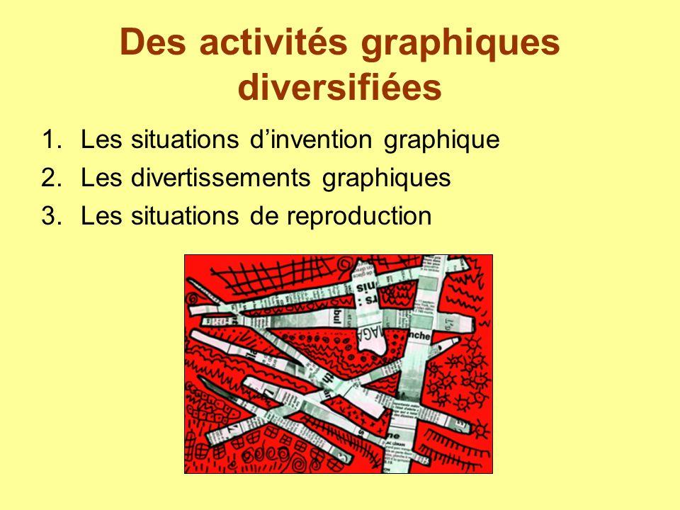 Des activités graphiques diversifiées 1.Les situations dinvention graphique 2.Les divertissements graphiques 3.Les situations de reproduction