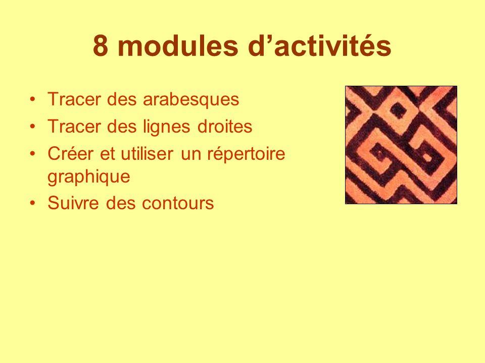8 modules dactivités Tracer des arabesques Tracer des lignes droites Créer et utiliser un répertoire graphique Suivre des contours