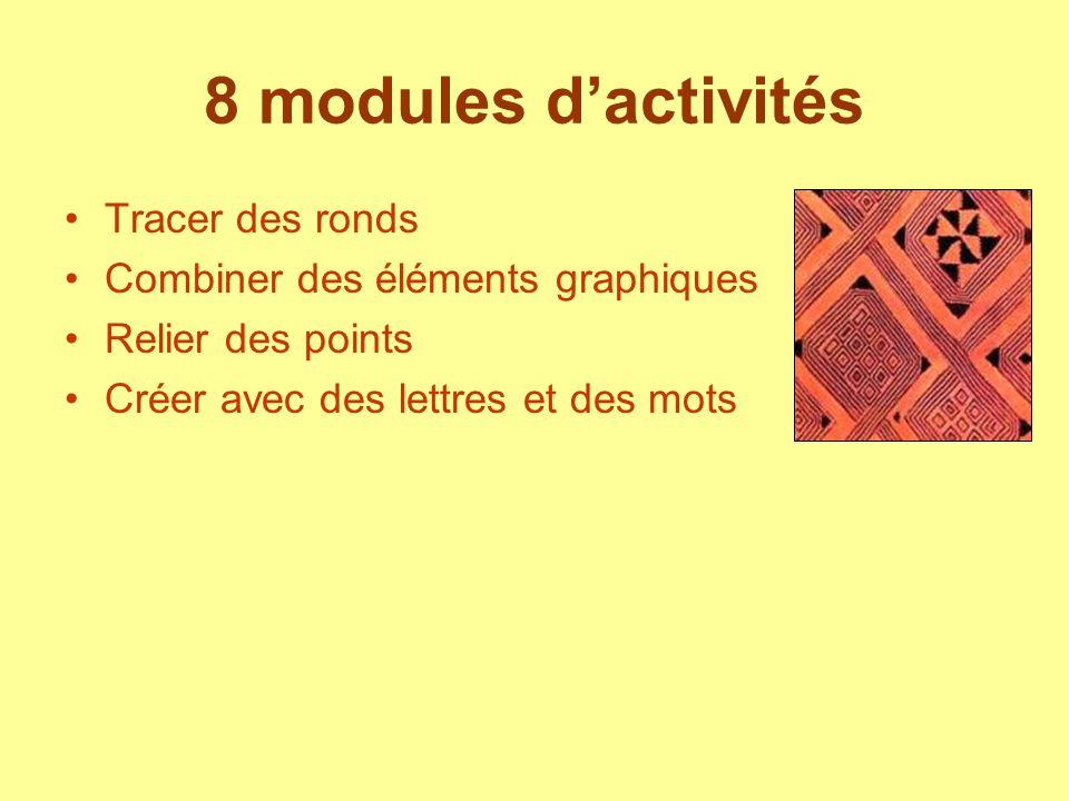 8 modules dactivités Tracer des ronds Combiner des éléments graphiques Relier des points Créer avec des lettres et des mots