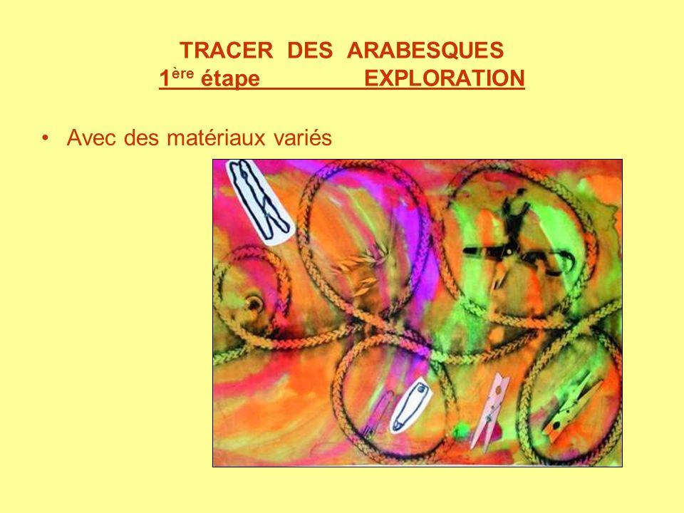 TRACER DES ARABESQUES 1 ère étape EXPLORATION Avec des matériaux variés