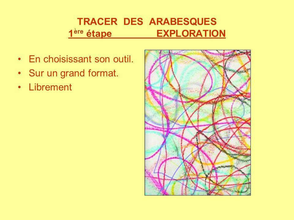 TRACER DES ARABESQUES 1 ère étape EXPLORATION En choisissant son outil. Sur un grand format. Librement