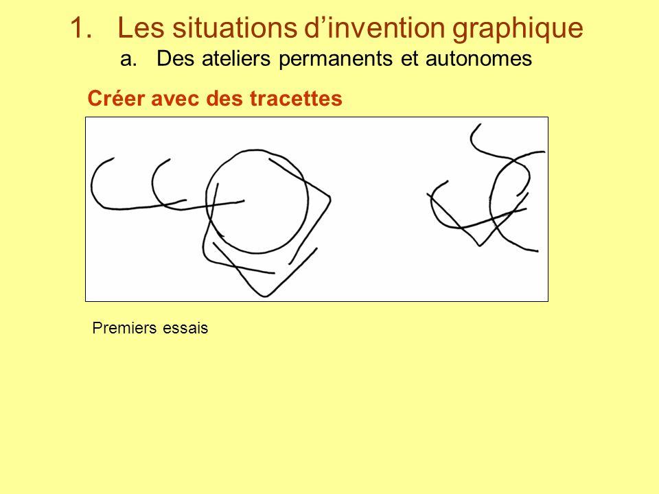 1. Les situations dinvention graphique a. Des ateliers permanents et autonomes Premiers essais Créer avec des tracettes