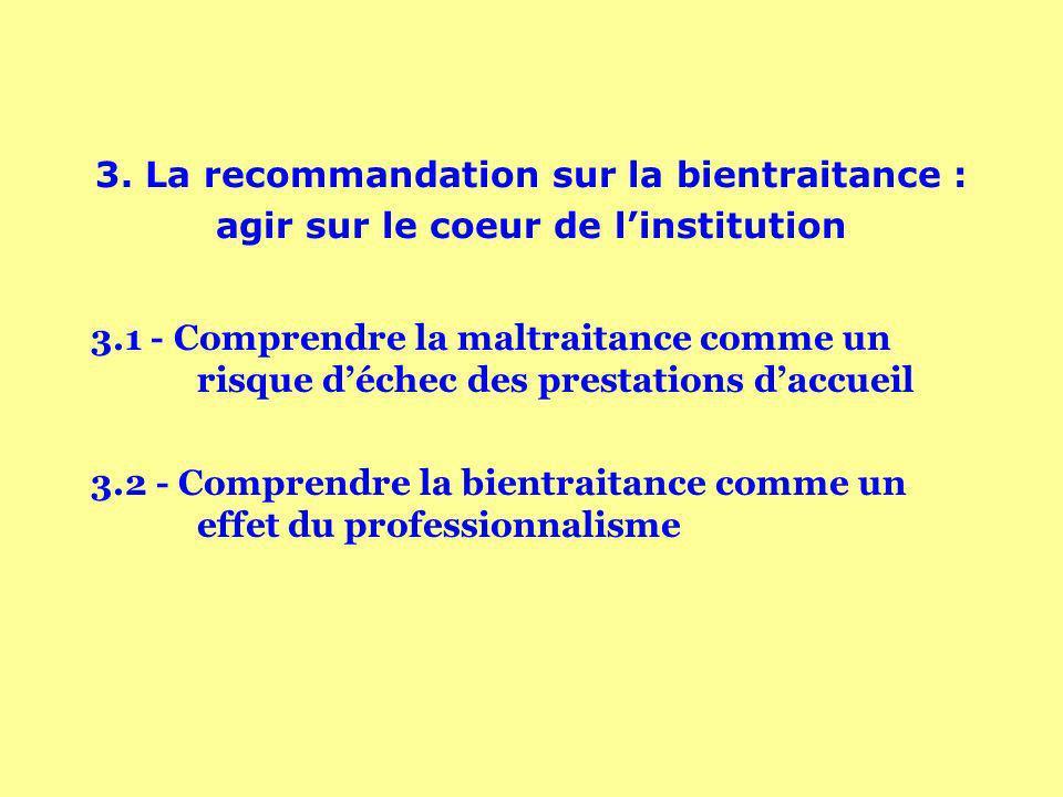 3. La recommandation sur la bientraitance : agir sur le coeur de linstitution 3.1 - Comprendre la maltraitance comme un risque déchec des prestations