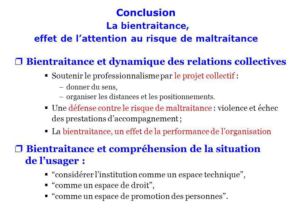 Conclusion La bientraitance, effet de lattention au risque de maltraitance rBientraitance et dynamique des relations collectives Soutenir le professio