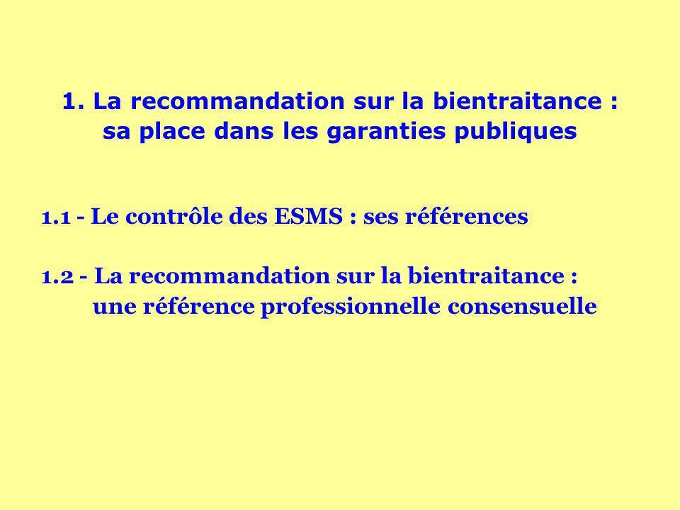 1. La recommandation sur la bientraitance : sa place dans les garanties publiques 1.1 - Le contrôle des ESMS : ses références 1.2 - La recommandation