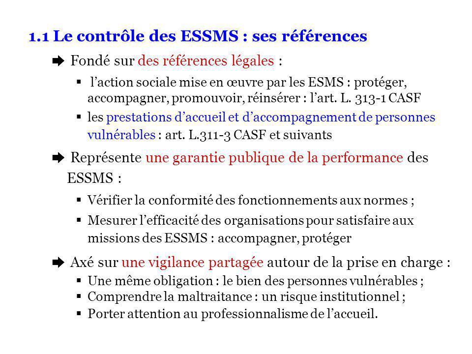 1.1 Le contrôle des ESSMS : ses références è Fondé sur des références légales : laction sociale mise en œuvre par les ESMS : protéger, accompagner, promouvoir, réinsérer : lart.