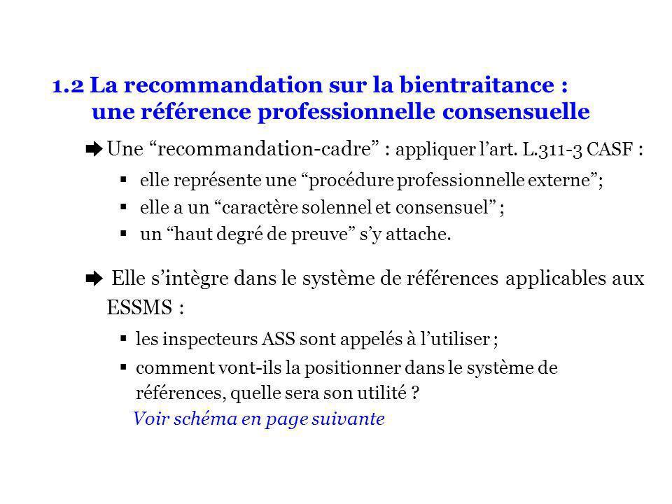 1.2 La recommandation sur la bientraitance : une référence professionnelle consensuelle èUne recommandation-cadre : appliquer lart. L.311-3 CASF : ell
