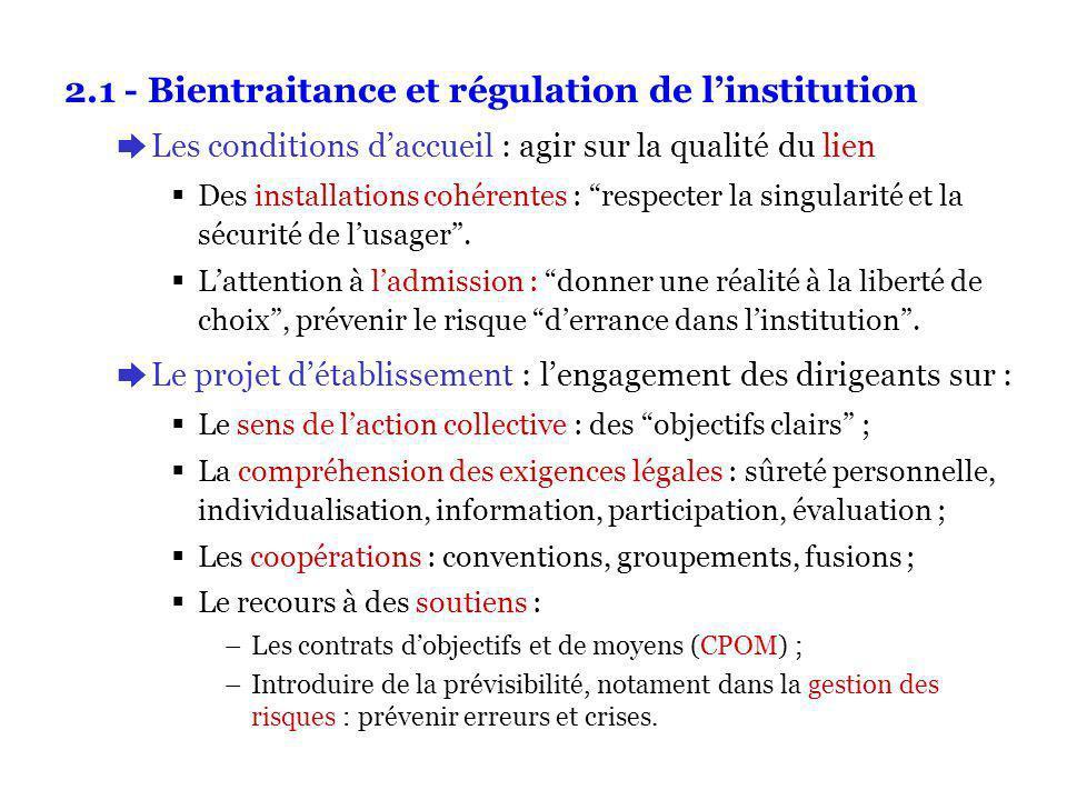 2.1 - Bientraitance et régulation de linstitution èLes conditions daccueil : agir sur la qualité du lien Des installations cohérentes : respecter la singularité et la sécurité de lusager.