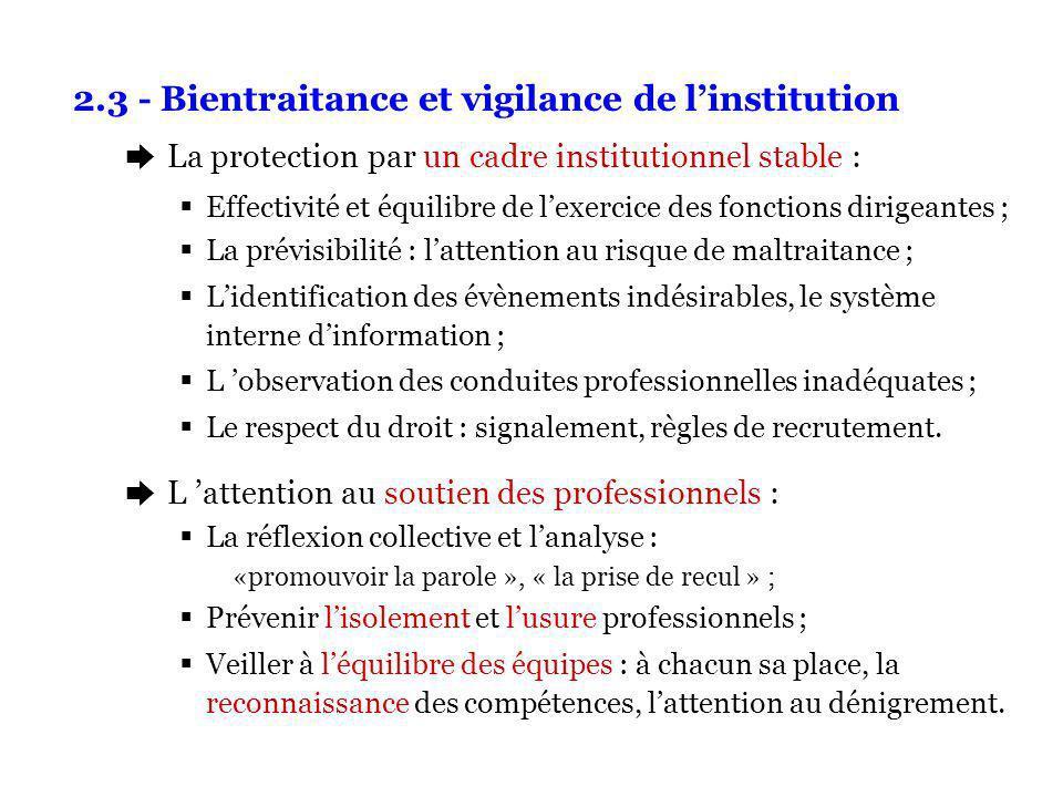 2.3 - Bientraitance et vigilance de linstitution è La protection par un cadre institutionnel stable : Effectivité et équilibre de lexercice des foncti