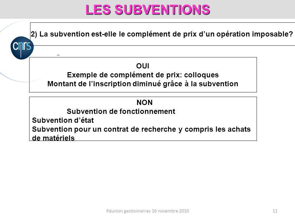 11Réunion gestionnaires 16 novembre 2010 LES SUBVENTIONS 2) La subvention est-elle le complément de prix dun opération imposable.
