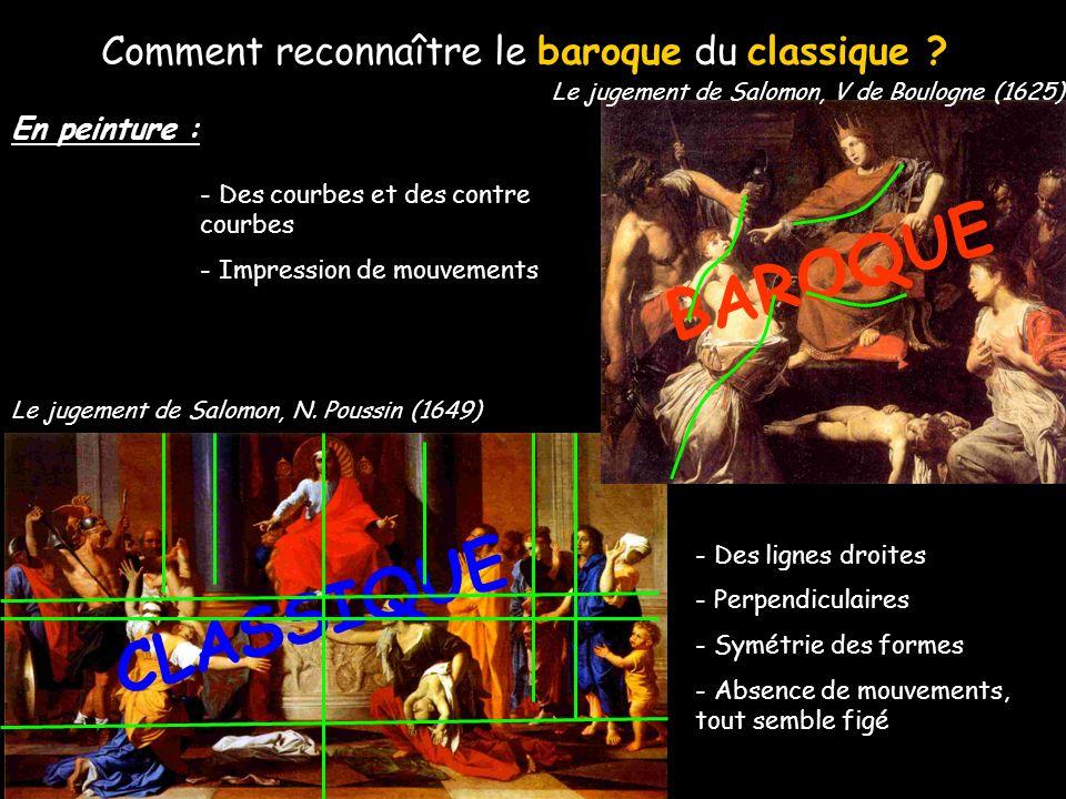 Comment reconnaître le baroque du classique ? - Des courbes et des contre courbes - des formes arrondies - richesse du décor - Des lignes droites - Pe