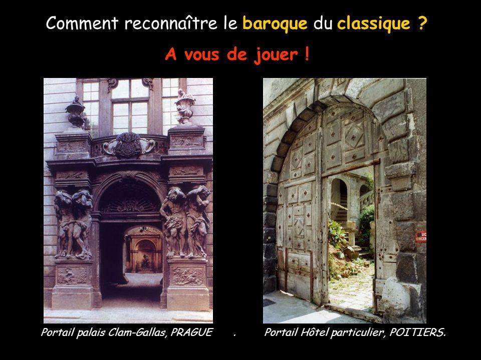Comment reconnaître le baroque du classique ? - Thème de lAntiquité - Absence de mouvements - Art qui exprime l'ordre, la discipline - Des courbes et