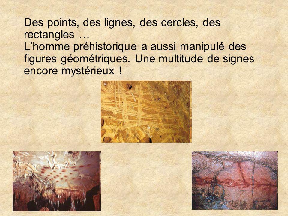 Des points, des lignes, des cercles, des rectangles … Lhomme préhistorique a aussi manipulé des figures géométriques. Une multitude de signes encore m