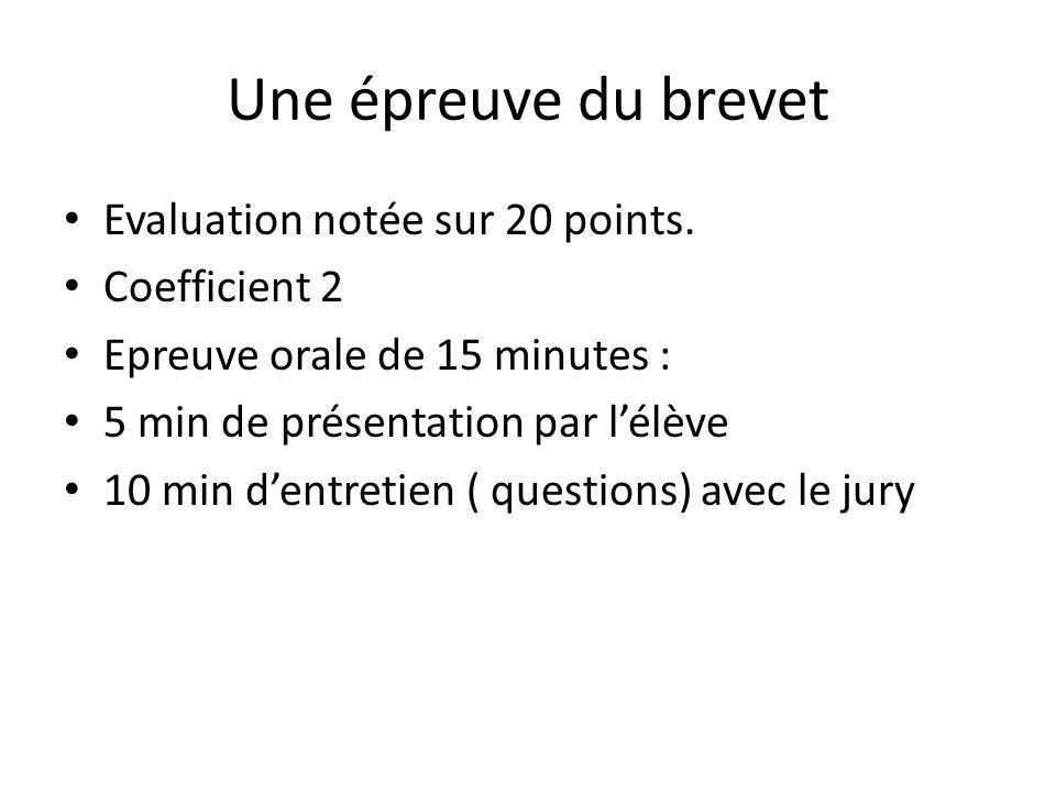 Une épreuve du brevet Evaluation notée sur 20 points.