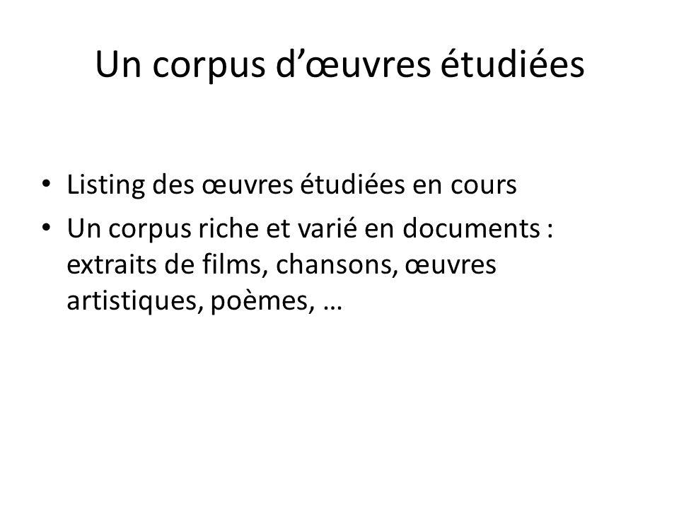 Un corpus dœuvres étudiées Listing des œuvres étudiées en cours Un corpus riche et varié en documents : extraits de films, chansons, œuvres artistiques, poèmes, …