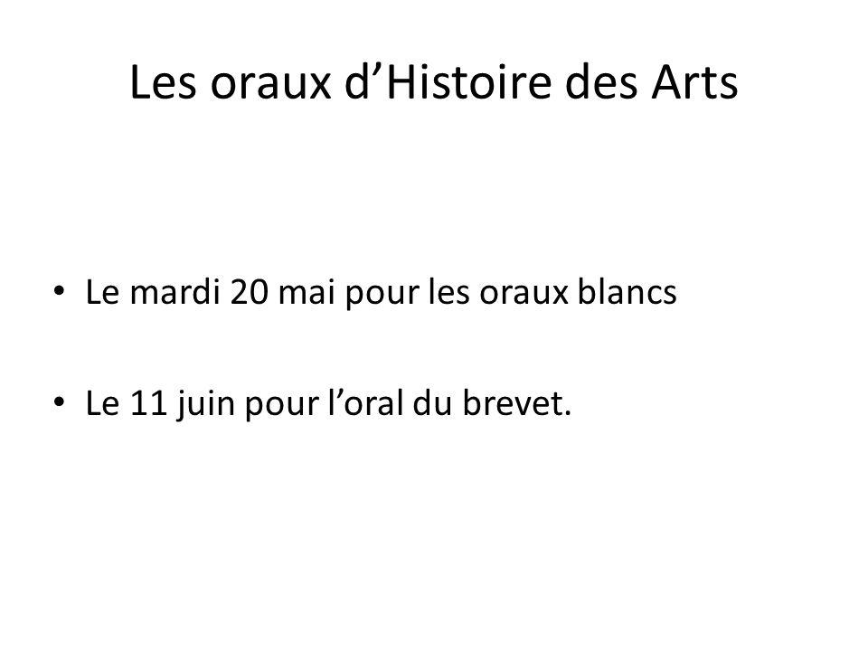 Les oraux dHistoire des Arts Le mardi 20 mai pour les oraux blancs Le 11 juin pour loral du brevet.