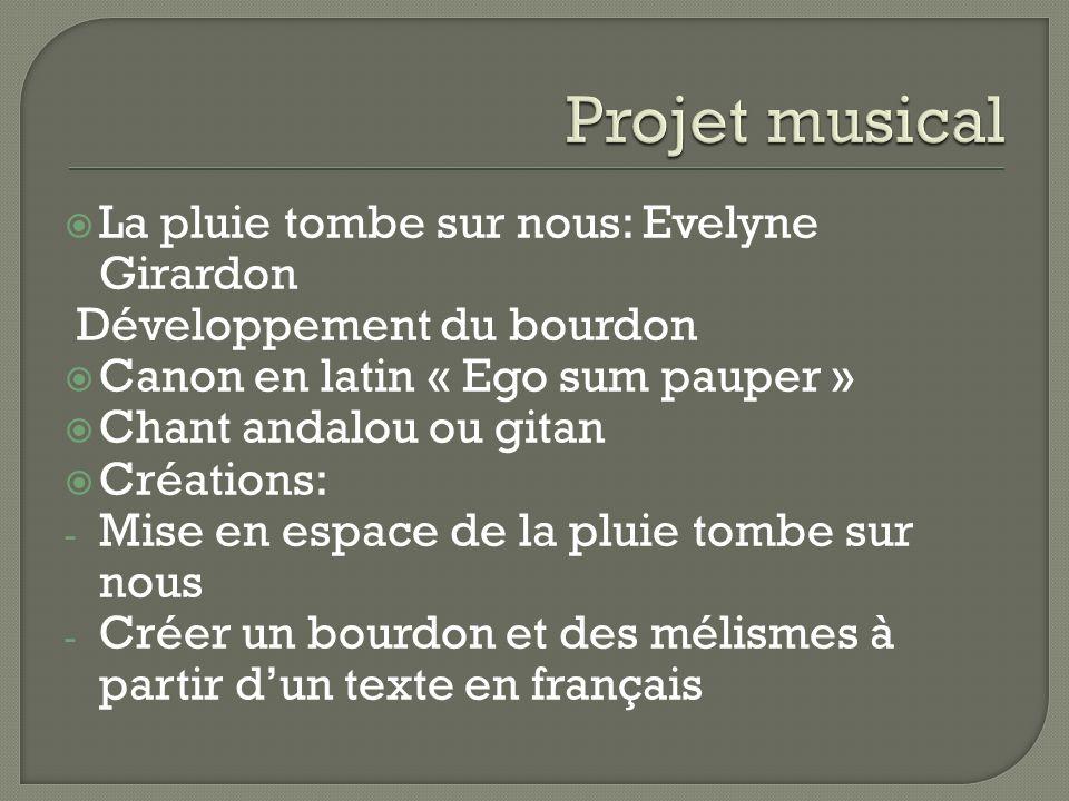 La pluie tombe sur nous: Evelyne Girardon Développement du bourdon Canon en latin « Ego sum pauper » Chant andalou ou gitan Créations: - Mise en espac